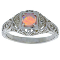 Pink Opal & Diamond Round Ring .925 Sterling Silver