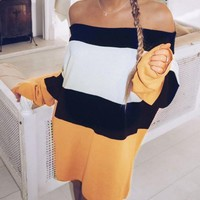 New Yellow Striped Off Shoulder Long Sleeve Going out Party Mini Dress