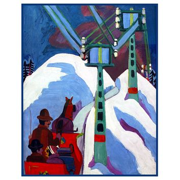 The Sleigh Ride by Ernst Ludwig Kirchner Counted Cross Stitch Pattern
