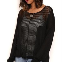 Plus Size Long Sleeve Open Stitch Paneled High Low Pullover Sweater