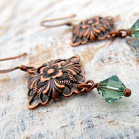 Soft Green and Copper earrings
