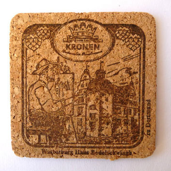Vintage Cork Coasters - Twelve Beer Glass Coasters - Kronen - unused