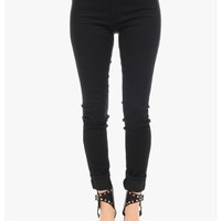 Black Hollywood Triple Button Skinny Jeans   $10.00   Cheap Trendy Jeans Chic Discount Fashion for