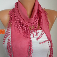 ON SALE - Amaranth Scarf  Women Pashmina  Scarf  - Cotton Scarf -  Cowl with Lace  Edge - fatwoman