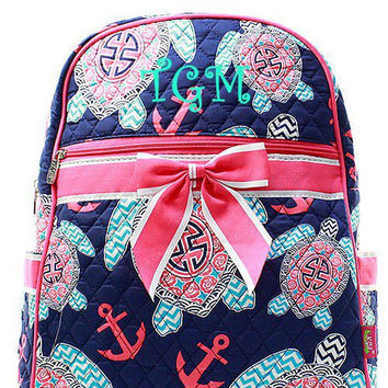 Monogrammed Pink Turtle Anchor Quilted Backpack  Personalized Quilted Backpack