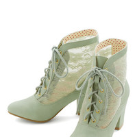 Bait Footwear Pastel, French Lace Against Time Bootie in Mint