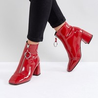 ASOS ROSEMARY Patent Mid Heeled Boots at asos.com