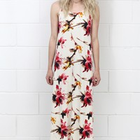 Abstract Watercolors Floral Maxi Dress {Off White}