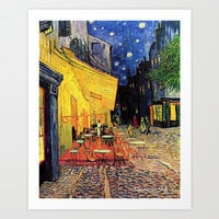 The Cafe Terrace on the Place du Forum, Arles, at Night Art Print by ArtsCollection