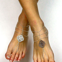 Tribal Silver Plated Barefoot Sandals
