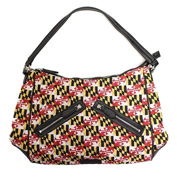 Quilted Maryland Flag / Double Black Zipper Bag