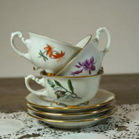 Vintage China Tea Cup,Vintage China Set of 3 cups and saucers,Handpainted Vintage Tea Cup and Saucer,1950's,English bone china,Collectibles