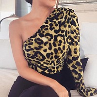 Autumn And Winter New fashion leopard print long sleeve romper women