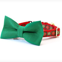 """Holiday Bow Tie Cat Collar Set - """"Let It Snow"""" - Green Detachable Bow Tie + Red Christmas Collar"""