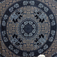 Plush Decor Blue-Black & Grey-White Elephant Tapestries Mandala Hippie Tapestry Indian Traditional Round Beach Throw Wall Art Bohemian Wall Hanging Queen Bedspread 235x215 cms