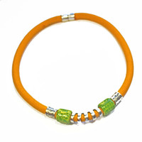 Statement Yellow Cord Necklace, Multiple Shape Beads, Green Patterned Ceramic Beads, Silver Beads, Tube Focal Beads, Magnetic Clasp, Gift