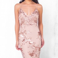 Indie XO A Moment's Notice Beige Gold Lace Sequin Spaghetti Strap V Neck Bodycon Mini Dress - Just Ours!