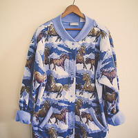 Horse Slouchy Cozy Sweatshirt  Light  Blue Women's Large Hipster Preppy Retro Vintage Montana  Texas Horse Lover Jacket Pockets