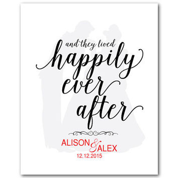 and they lived happily ever after - anniversary wedding gift - word art - customizable print Cinderella and the Prince Beauty and the Beast