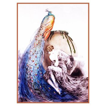 Art Deco Woman with Peacock Louis Icart  Counted Cross Stitch Pattern