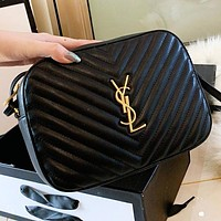 YSL New fashion tassel leather shoulder bag crossbody bag Black