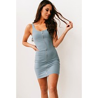 Maybe It Was Love Ribbed Bodycon Dress (Blue)