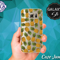 Tropical Pineapple Pattern Summer Fruit Cute Wanelo Inspired Case for Clear Rubber Samsung Galaxy S6 and Samsung Galaxy S6 Edge Clear Cover
