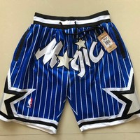 Just Don 1994-95 Orlando Magic Vintage Embroidered Pocket Zipper Basketball Swingman Shorts Blue