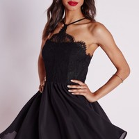 Missguided - Lace Scallop Detail Puffball Skater Dress Black