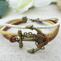Anchor rope bracelet  Fashion men's Brown cuff bracelet made by cotton rope and bronze Bangle LB442