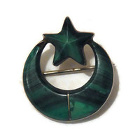 Antique Victorian Malachite and Silver Star and Crescent Moon Brooch. Nineteenth Century Brooch. Estate Jewellery. .