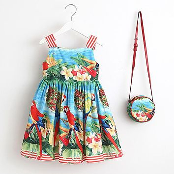 Girls Dress with Bag Baby Girls Clothes Robe Princess Kids Dresses Children Clothing