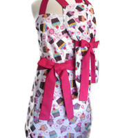 Mother Daughter Cupcake Mommy and Me Matching Apron Set with Pink Ties for women children toddlers baby mother's day kitchen aprons