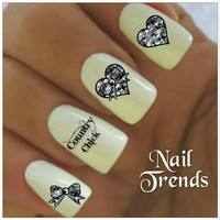 Country Nail Decal. 20 Vinyl Stickers Nail Art