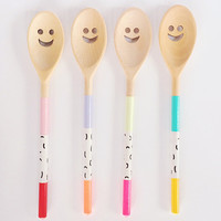 HAPPY Wooden Spoon - Painted Kitchen Utensil in Bright / Neon / Pastel / Black and White - Colouful Modern Pattern - Gift for Cooks