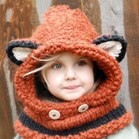 Fox Winter Beanie Baby Kid Animal Warm Cat Hat Hooded Scarf Earflap Knitted Wool Gift