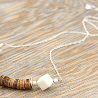 NEW Tribal Necklace, Beach Boho Coconut African Beads, Sweet White Coral Cubes, Sterling Silver Chain Bohemian Gypsy Ethnic Native Necklace