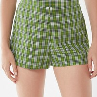 UO Manchester Plaid High-Rise Short | Urban Outfitters
