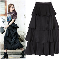 2017 New Style Women Fashipn Pure Color Loose Waist Cake Skirt Long Asymmetry Skirt Black Green Brand Skirt