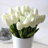 1PC Tulip Artificial Flower Latex Real Touch Wedding Bouquet Home Decor White