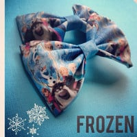 Frozen print handmade fabric bow tie or hair bow