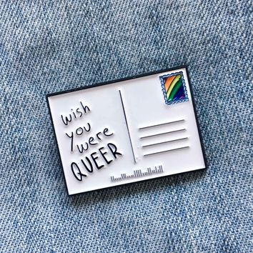 """""""Wish You Were Queer"""" Rainbow Postcard Lapel Pin"""
