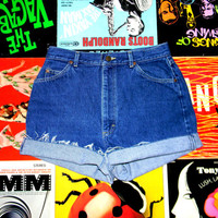 High Waisted Denim Shorts, Vintage 80s Dark Washed Jean Shorts w Contrast Stitching, Frayed Rolled Up LEE BRAND Cut Offs Size 12 Misses L