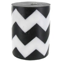 "3"" x 4"" Black & White Inlaid Chevron Pillar Candle 