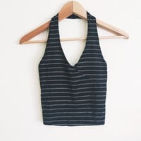 Alex Black Striped Ribbed Halter