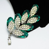 Green Rhinestone Leaf Brooch with Overlay of Silver Tone Encrusted Clear Rhinestones Leaves, Vintage 1950s Emerald Green Figural Pin Jewelry
