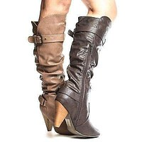 Merton03 by Wild Diva, Knee High Slouchy Faux Wooden High Heel Riding Boots