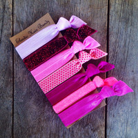 The Breast Cancer Awareness Elastic Hair Ties-Ponytail Holder Collection by Elastic Hair Bandz on Etsy