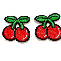 Set 2pcs. Little Couple Cherry Cute Patch - Fruit New Iron On Patch Embroidered Applique Size 3.3cm.x3.2cm.
