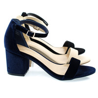 Highlight06S By Bamboo, 70s Low Chunky Block Heel Sandal w Ankle Strap. Women's Shoes